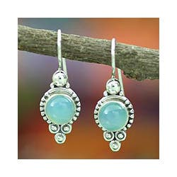 Ocean Sky Aqua Blue Round Chalcedony Gemstones with 925 Sterling Silver Bohemian Womens Dangle Earrings (India) https://ak1.ostkcdn.com/images/products/6663965/Sterling-Silver-Ocean-Sky-Chalcedony-Dangle-Earrings-India-P14223118c.jpg?impolicy=medium