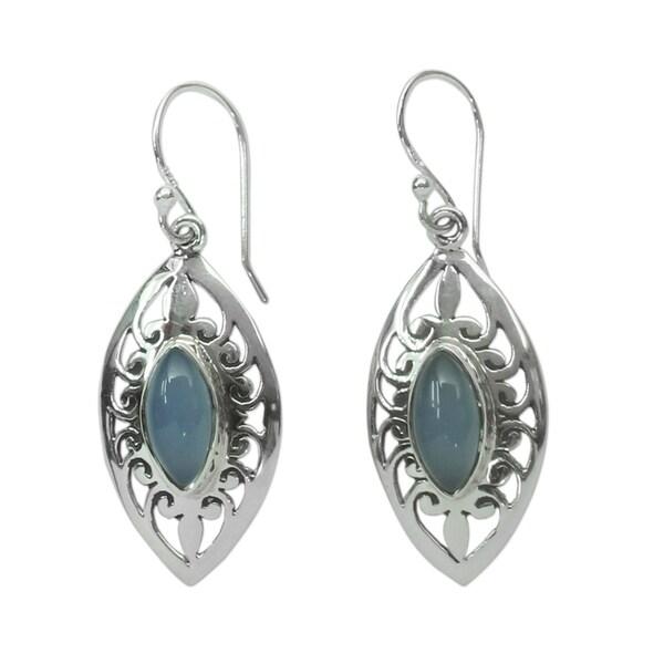 Handmade Sterling Silver Mumbai Sky Chalcedony Earrings (India). Opens flyout.