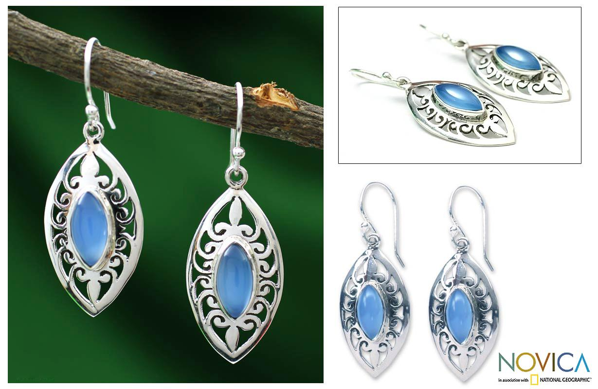 Sterling Silver 'Mumbai Sky' Chalcedony Earrings (India)