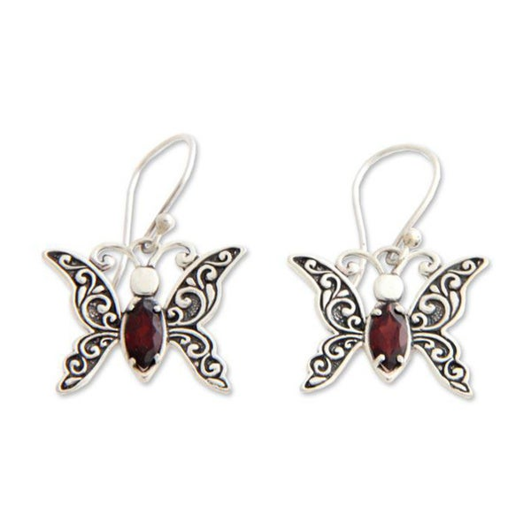 Handmade Sterling Silver X27 Baby Erfly Garnet Dangle Earrings