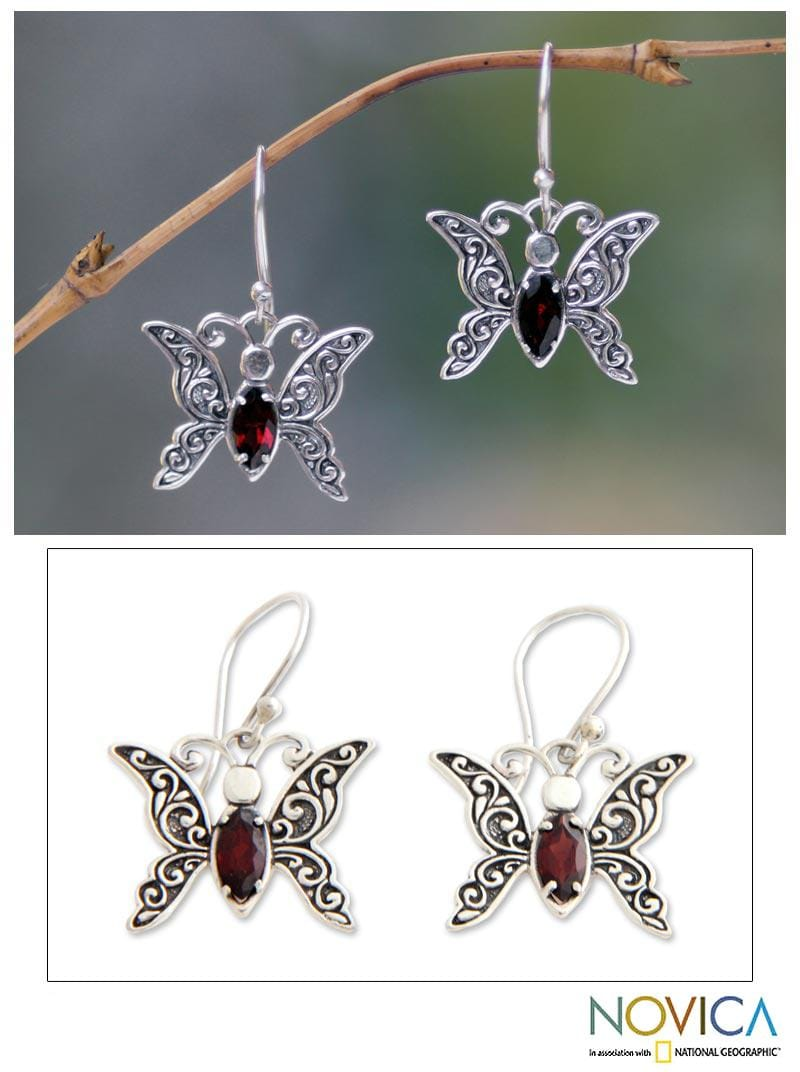 Handmade Sterling Silver 'Baby Butterfly' Garnet Dangle Earrings (Indonesia)