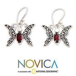Handmade Sterling Silver 'Baby Butterfly' Garnet Dangle Earrings (Indonesia) - Thumbnail 1