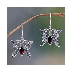 Sterling Silver 'Baby Butterfly' Garnet Dangle Earrings (Indonesia)