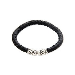 Leather Handmade 'Rattle Snake Tales' Sterling Silver Bracelet (Indonesia)
