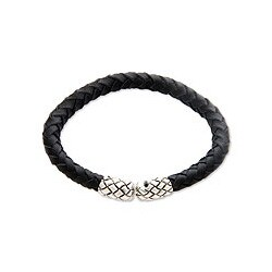 Handmade Leather 'Rattle Snake Tales' Sterling Silver Bracelet (Indonesia)