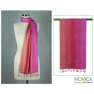 Handmade Silk 'Indian Rainbow' Scarf (India)