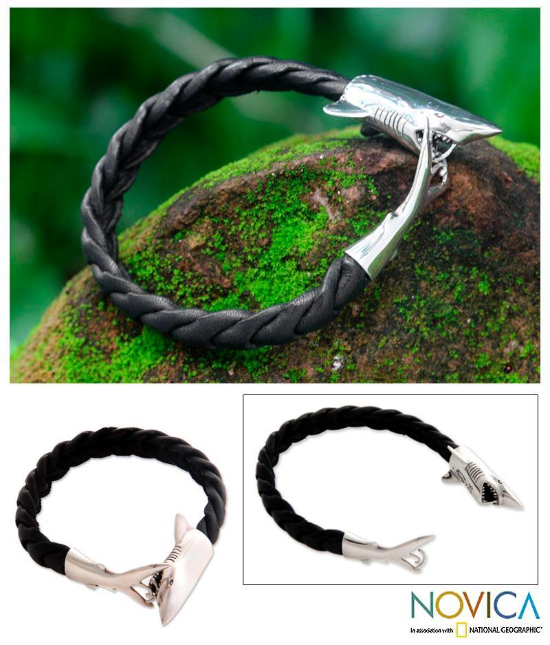 Handmade Leather Men\'s \'Shark\' Sterling Silver Bracelet (Indonesia ...