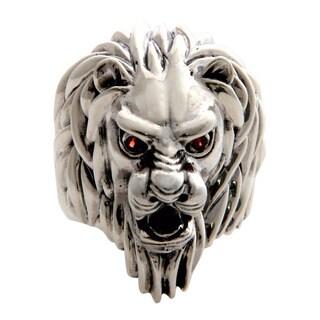 Handmade Lion Power Artisan Designer Bold Men's Fashion Red Garnet Gemstone Sterling Silver Ring (Indonesia)