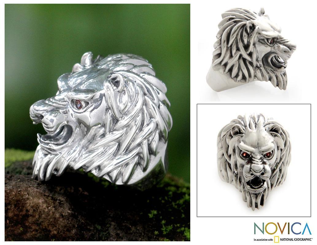 Lion Power Handmade Artisan Designer Bold Men's Fashion Sterling Silver Black Onyx Red Garnet Gemstone Jewelry Ring (Indonesia)