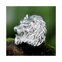 Lion Power Handmade Artisan Designer Bold Men's Fashion Sterling Silver Black Onyx Red Garnet Gemsto