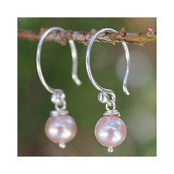Sterling Silver 'Ocean Love' Pearl Earrings (6.5-7 mm) (Thailand)