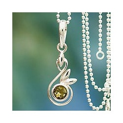 Handmade Sterling Silver 'New Growth' Citrine Necklace (India)