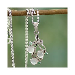 Magical Moonstones with Emerald Accented Leaf Setting of Polished Rhodium Plated Sterling Silver Womens Pendant Necklace (India)