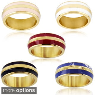 Goldplated Stainless Steel and Colored Enamel Stripe Ring