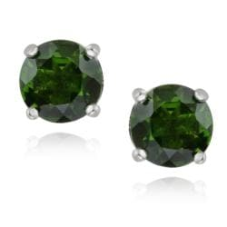 Glitzy Rocks Sterling Silver 2 3/8ct TGW Chrome Diopside Stud Earrings