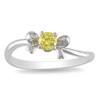 Miadora 10k White Gold 1/5ct TDW Yellow Diamond Bow  Ring