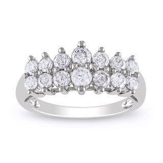 Miadora 10k White Gold 1ct TDW Round-cut Diamond Ring