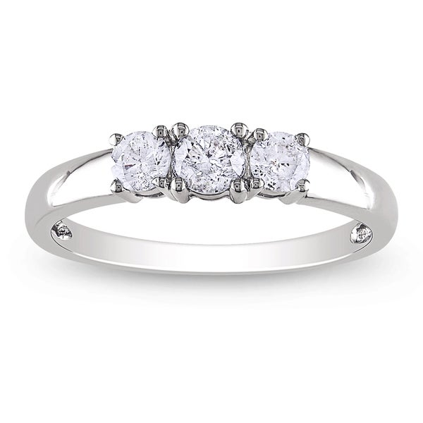 Miadora 14k White Gold 1/2ct TDW Diamond 3-stone Ring (H-I, I2-I3)