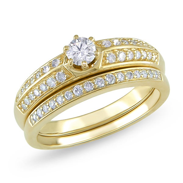 Miadora 10k Yellow Gold 1/2ct TDW Diamond Bridal Ring Set (H-I, I2-I3)