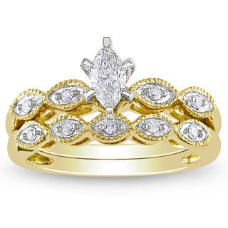 Miadora 10k Yellow Gold 1/3ct TDW Diamond Bridal Ring Set