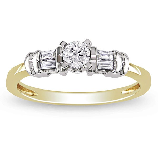Miadora 10k Gold 1/3ct TDW Diamond Classic Round and Baguette Engagement Ring