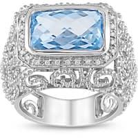 Miadora Sterling Silver Sky Blue Topaz and 1/10ct TDW Diamond Ring (H-I, I2-I3)