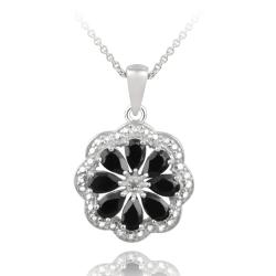 Glitzy Rocks Sterling Silver Black Spinel and Diamond Accent Flower Necklace