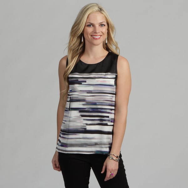 Calvin Klein Women's Sleeveless Jewel Neckline Blouse FINAL SALE