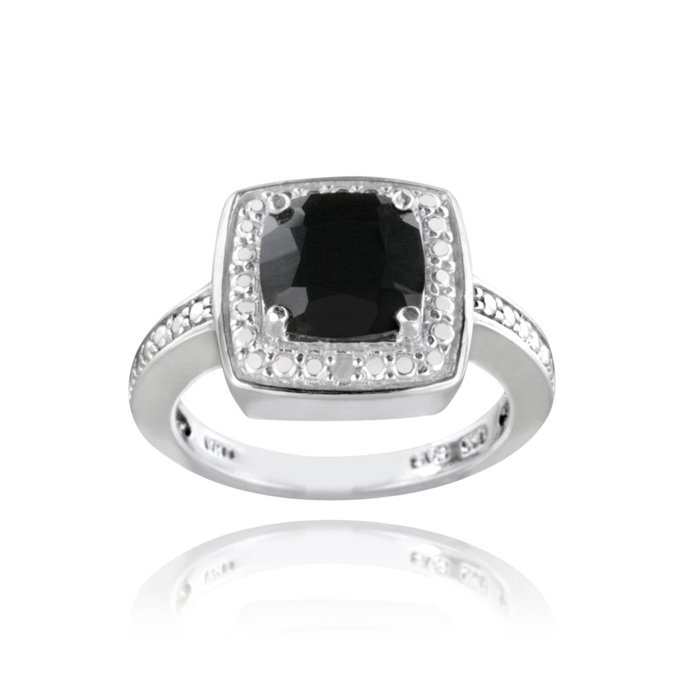 Glitzy Rocks Sterling Silver Black Spinel and Diamond Accent Square Ring