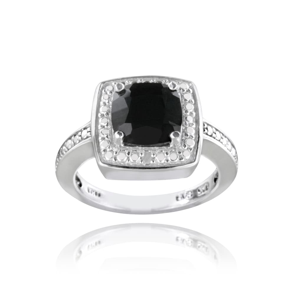 Glitzy Rocks Sterling Silver Black Spinel and Diamond Accent Square Ring - Thumbnail 0
