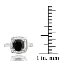 Glitzy Rocks Sterling Silver Black Spinel and Diamond Accent Square Ring - Thumbnail 2