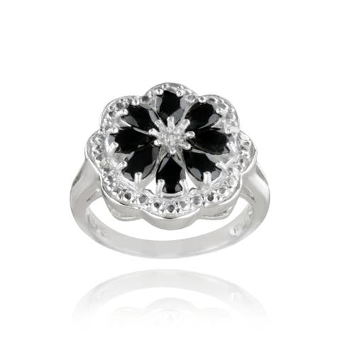 Glitzy Rocks Sterling Silver Black Spinel and Diamond Accent Flower Ring