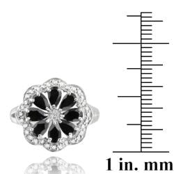 Glitzy Rocks Sterling Silver Black Spinel and Diamond Accent Flower Ring - Thumbnail 2