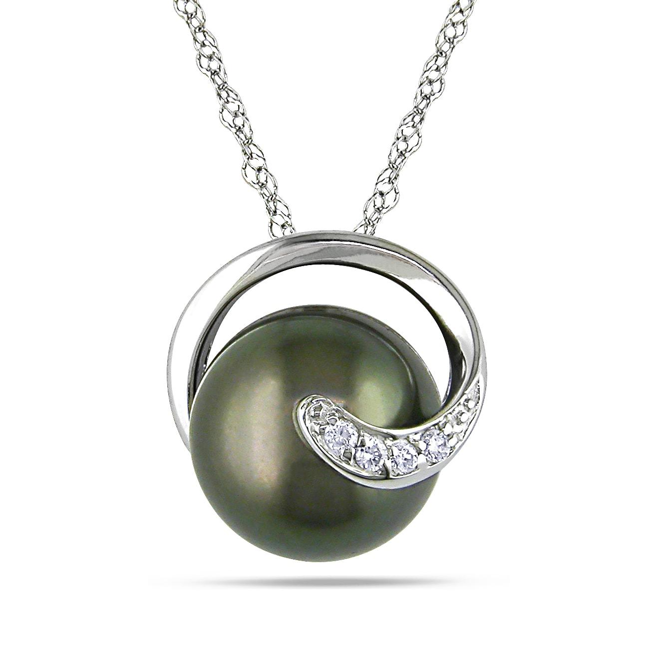 Miadora 14k White Gold Black Tahitian Pearl and Diamond Accent Necklace