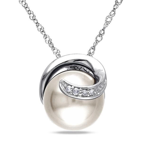 Miadora 10k White Gold Diamond Cultured Freshwater Pearl and Diamond Accent Necklace
