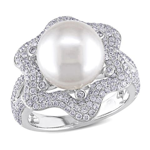 Miadora 14k White Gold South Sea Pearl and 1ct TDW Diamond Ring (10-10.5 MM)