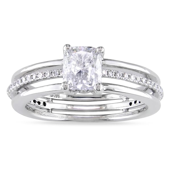 Miadora 14k White Gold 1 1/4ct TDW Diamond Engagement Ring
