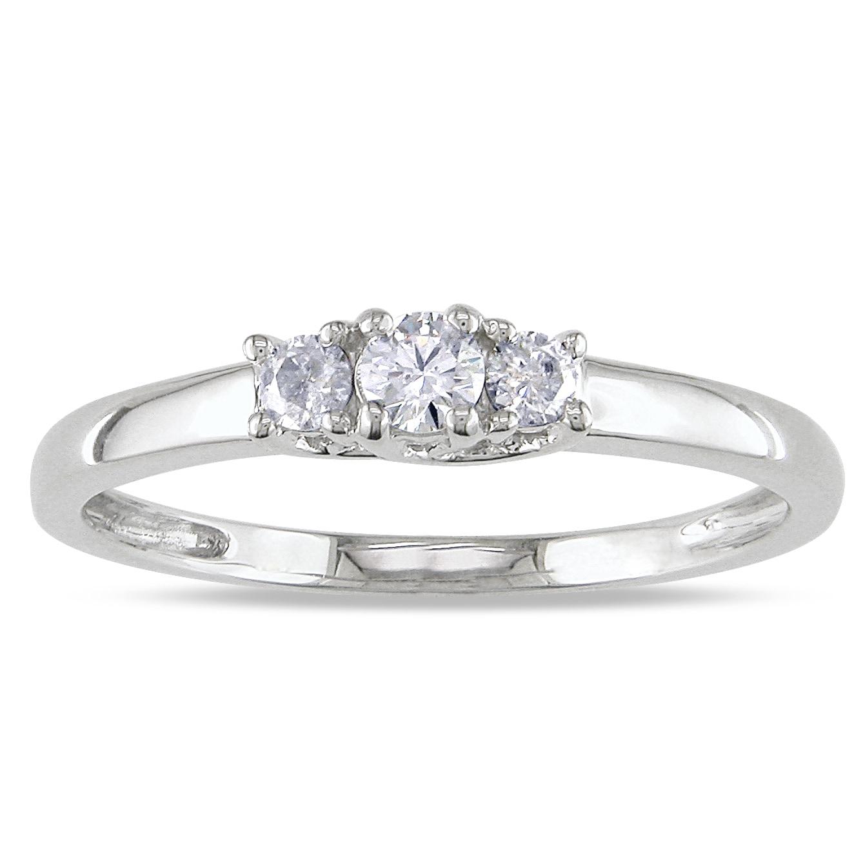 14k White Gold 1/4ct TDW Diamond Three Stone Ring