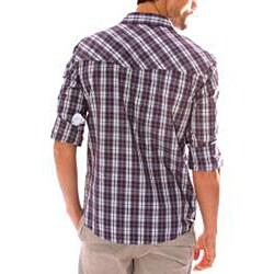 191 Unlimited Men's Purple Plaid Snap-button Shirt