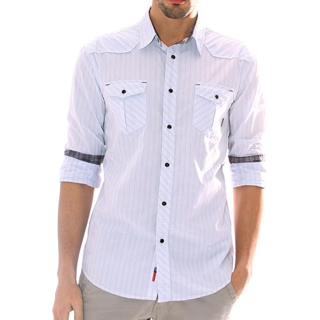 191 Unlimited Men's White Stripe Snap-button Shirt