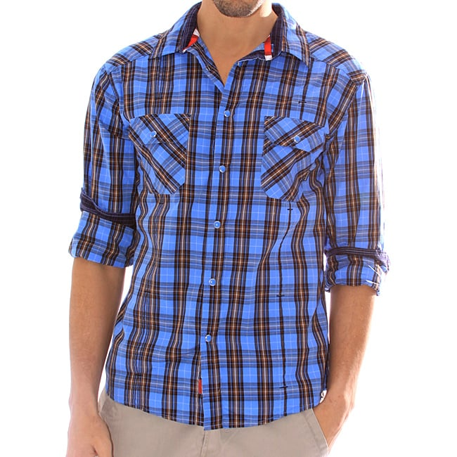 191 Unlimited Men's Blue Plaid Snap-button Shirt