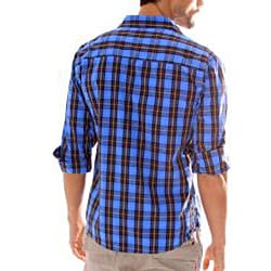 191 Unlimited Men's Blue Plaid Snap-button Shirt - Thumbnail 1