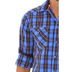 191 Unlimited Men's Blue Plaid Snap-button Shirt - Thumbnail 2