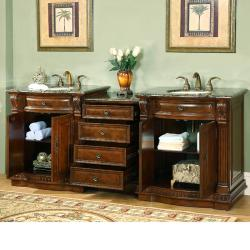 Silkroad Exclusive Stone Counter Top 84.5-inch Double Sink Bathroom Vanity - Thumbnail 1