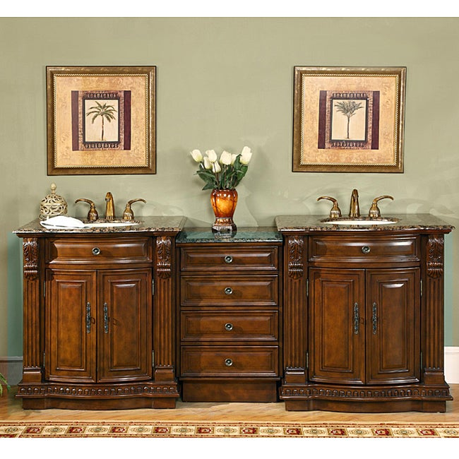 Silkroad Exclusive Stone Counter Top 84 5 Inch Double Sink Bathroom Vanity Free Shipping Today
