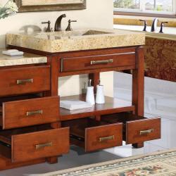 Silkroad Exclusive Kashmir Gold Granite Stone Counter Top Single Sink Bathroom Vanity - Thumbnail 1