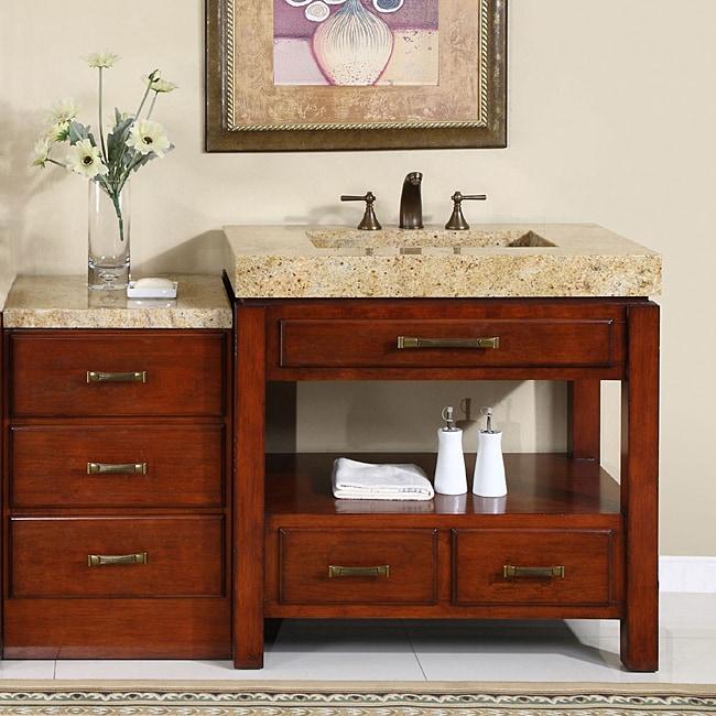 Silkroad Exclusive Kashmir Gold Granite Stone Counter Top Single Sink Bathroom Vanity