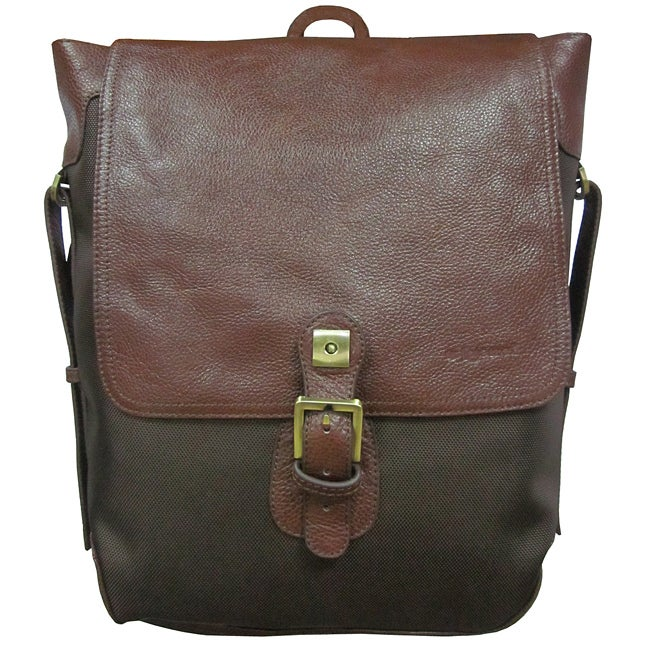 Amerileather Dark Brown Ballistic Nylon & Leather Two-tone Backpack - Thumbnail 0