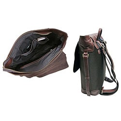 Amerileather Dark Brown Ballistic Nylon & Leather Two-tone Backpack - Thumbnail 1