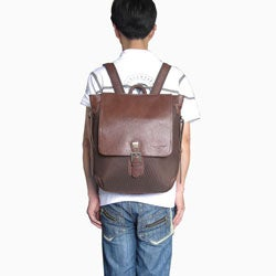 Amerileather Dark Brown Ballistic Nylon & Leather Two-tone Backpack - Thumbnail 2